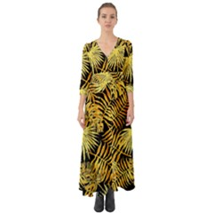 Gold Tropical Leaves Button Up Boho Maxi Dress by goljakoff