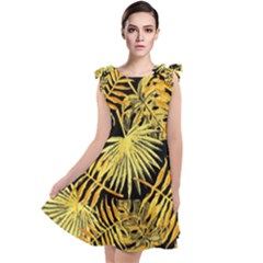 Gold Tropical Leaves Tie Up Tunic Dress by goljakoff