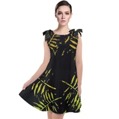 Green Tropical Leaves Tie Up Tunic Dress by goljakoff
