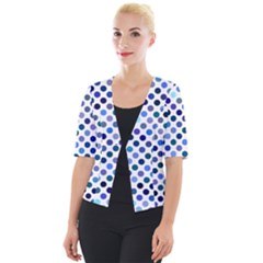 Shades Of Blue Polka Dots Cropped Button Cardigan by retrotoomoderndesigns