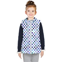 Shades Of Blue Polka Dots Kids  Hooded Puffer Vest by retrotoomoderndesigns