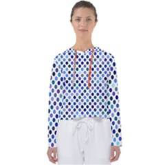 Shades Of Blue Polka Dots Women s Slouchy Sweat by retrotoomoderndesigns