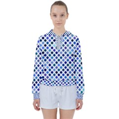 Shades Of Blue Polka Dots Women s Tie Up Sweat by retrotoomoderndesigns