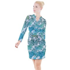 Azure Tropical Leaves Button Long Sleeve Dress by goljakoff