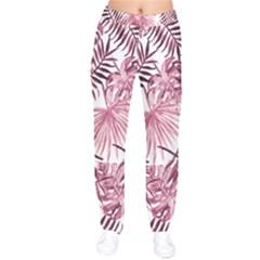 Light Rose Tropical Leaves Velvet Drawstring Pants by goljakoff