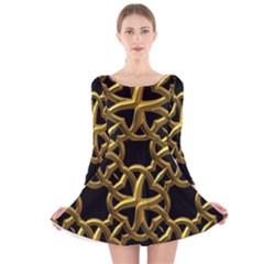 Gold Black Starfish Long Sleeve Velvet Skater Dress by retrotoomoderndesigns