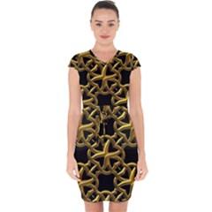 Gold Black Starfish Capsleeve Drawstring Dress  by retrotoomoderndesigns