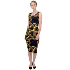 Gold Black Starfish Sleeveless Pencil Dress by retrotoomoderndesigns