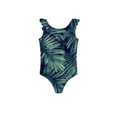 Green Tropical Flora Kids  Frill Swimsuit by goljakoff