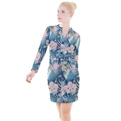 Minimalistic Flowers Button Long Sleeve Dress by goljakoff