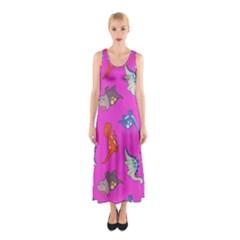 Dinosaurs - Fuchsia Sleeveless Maxi Dress by WensdaiAmbrose