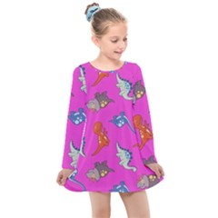 Dinosaurs - Fuchsia Kids  Long Sleeve Dress by WensdaiAmbrose