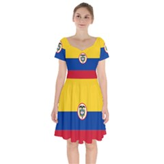 Naval Ensign Of Colombia Short Sleeve Bardot Dress by abbeyz71