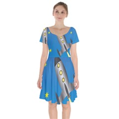 Rocket Spaceship Space Travel Nasa Short Sleeve Bardot Dress by Wegoenart