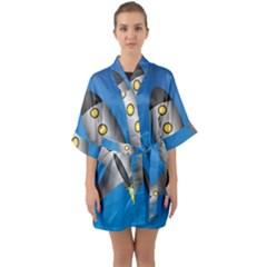 Rocket Spaceship Space Travel Nasa Quarter Sleeve Kimono Robe by Wegoenart