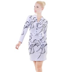 Phoenix Mythical Bird Animal Button Long Sleeve Dress by Wegoenart