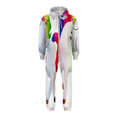 Rainbow Unicorn Unicorn Heart Hooded Jumpsuit (kids) by Wegoenart