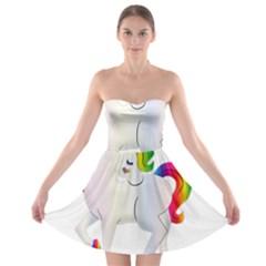 Rainbow Unicorn Unicorn Heart Strapless Bra Top Dress by Wegoenart