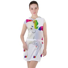 Rainbow Unicorn Unicorn Heart Drawstring Hooded Dress by Wegoenart