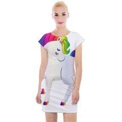 Rainbow Unicorn Unicorn Heart Cap Sleeve Bodycon Dress by Wegoenart