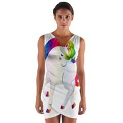 Rainbow Unicorn Unicorn Heart Wrap Front Bodycon Dress by Wegoenart