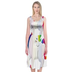 Rainbow Unicorn Unicorn Heart Midi Sleeveless Dress by Wegoenart