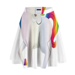 Rainbow Unicorn Unicorn Heart High Waist Skirt by Wegoenart
