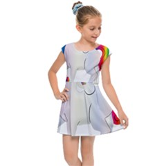 Rainbow Unicorn Unicorn Heart Kids  Cap Sleeve Dress by Wegoenart
