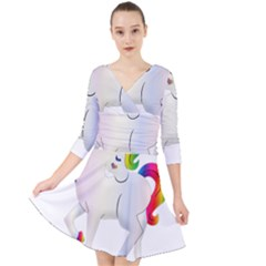 Rainbow Unicorn Unicorn Heart Quarter Sleeve Front Wrap Dress by Wegoenart
