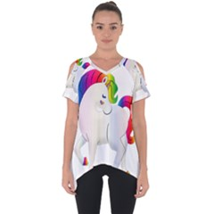 Rainbow Unicorn Unicorn Heart Cut Out Side Drop Tee by Wegoenart