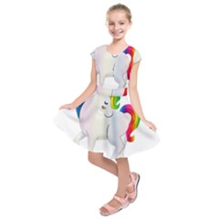 Rainbow Unicorn Unicorn Heart Kids  Short Sleeve Dress by Wegoenart