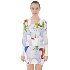 Rainbow Unicorn Unicorn Heart V Neck Bodycon Long Sleeve Dress by Wegoenart