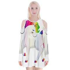 Rainbow Unicorn Unicorn Heart Velvet Long Sleeve Shoulder Cutout Dress by Wegoenart