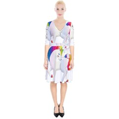 Rainbow Unicorn Unicorn Heart Wrap Up Cocktail Dress by Wegoenart