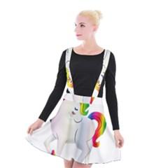 Rainbow Unicorn Unicorn Heart Suspender Skater Skirt by Wegoenart