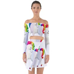 Rainbow Unicorn Unicorn Heart Off Shoulder Top With Skirt Set by Wegoenart