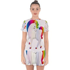 Rainbow Unicorn Unicorn Heart Drop Hem Mini Chiffon Dress by Wegoenart