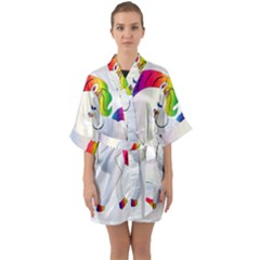 Rainbow Unicorn Unicorn Heart Quarter Sleeve Kimono Robe by Wegoenart
