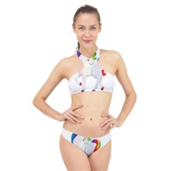Rainbow Unicorn Unicorn Heart High Neck Bikini Set by Wegoenart