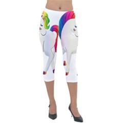 Rainbow Unicorn Unicorn Heart Lightweight Velour Capri Leggings  by Wegoenart