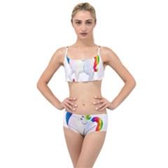 Rainbow Unicorn Unicorn Heart Layered Top Bikini Set by Wegoenart