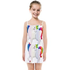 Rainbow Unicorn Unicorn Heart Kids  Summer Sun Dress by Wegoenart