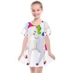 Rainbow Unicorn Unicorn Heart Kids  Smock Dress by Wegoenart