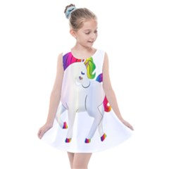 Rainbow Unicorn Unicorn Heart Kids  Summer Dress by Wegoenart