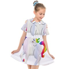 Rainbow Unicorn Unicorn Heart Kids  Short Sleeve Shirt Dress by Wegoenart