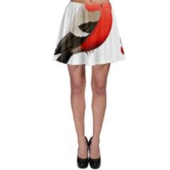 Red Robin Berry Red Berries Bird Skater Skirt by Wegoenart