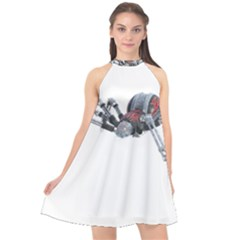 Spider Arachnid Animal Robot Halter Neckline Chiffon Dress  by Wegoenart
