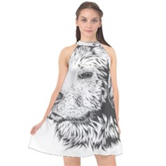 Dog Animal Domestic Animal Doggie Halter Neckline Chiffon Dress  by Wegoenart