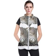 Iguana Portrait Profile Close Up Women s Puffer Vest by Wegoenart