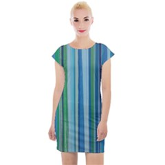 Painted Stripe Cap Sleeve Bodycon Dress by dressshop
